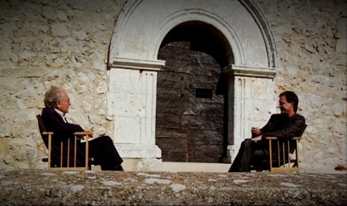 Eduard Punset & me outside a Barcelona Romanesque Church